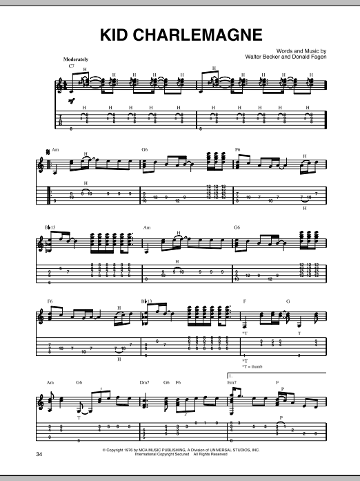 Kid Charlemagne (Solo Guitar Tab)