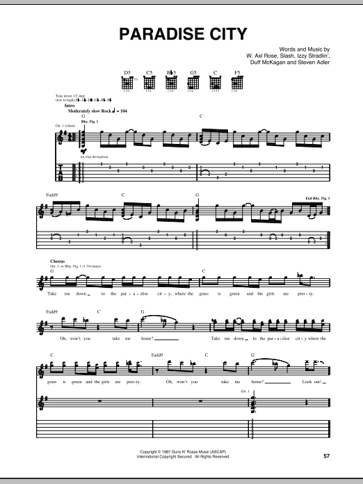 Paradise City (live version) Sheet Music