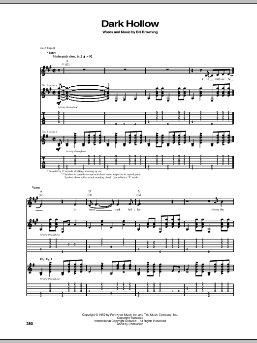 Dark Hollow Sheet Music