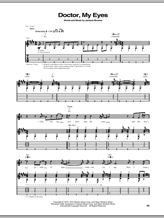 Tablature guitare Doctor, My Eyes de Jackson Browne - Tablature Guitare