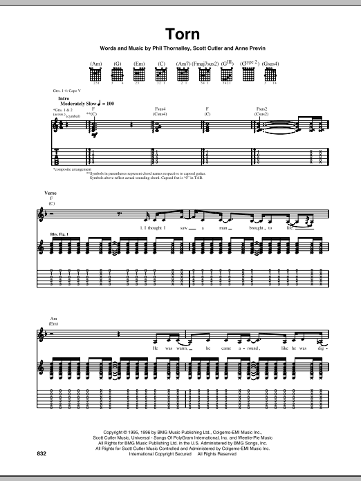 Torn (Guitar Tab)