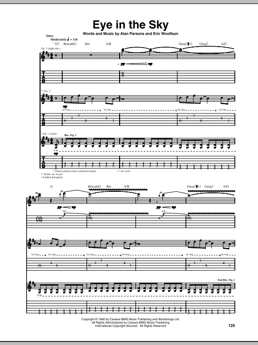 Tablature guitare Eye In The Sky de Alan Parsons Project - Tablature Guitare