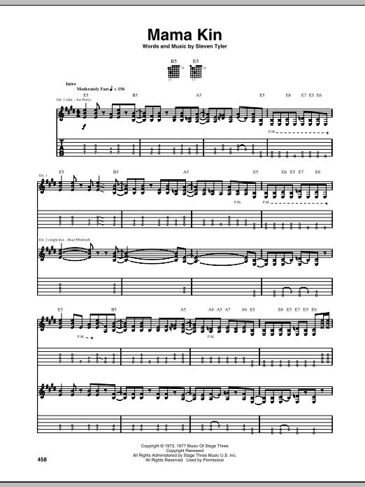 Tablature guitare Mama Kin de Aerosmith - Tablature Guitare