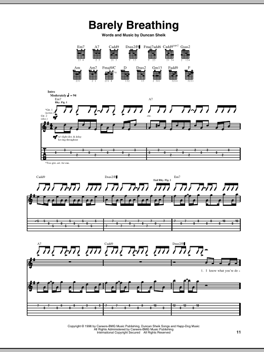 Barely Breathing Sheet Music