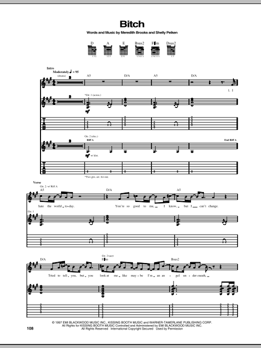 Bitch Sheet Music