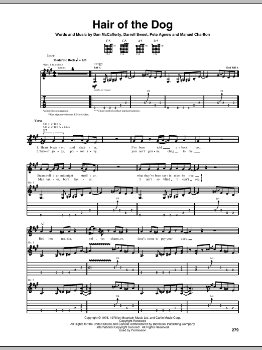 Hair Of The Dog Sheet Music