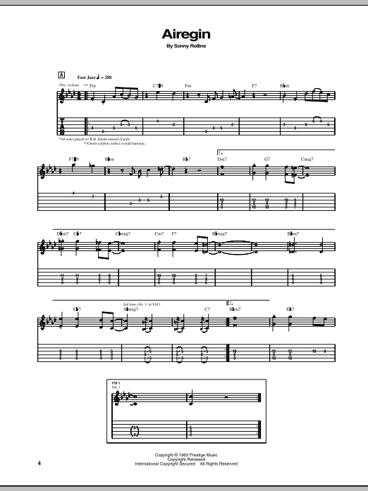 Tablature guitare Airegin de Sonny Rollins - Tablature Guitare