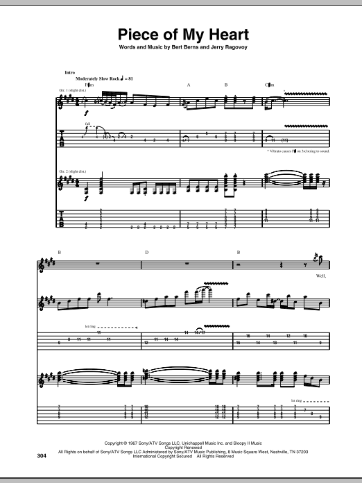 Piece Of My Heart (Guitar Tab)