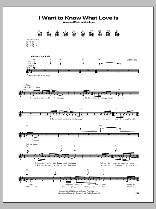 I Want To Know What Love Is (Guitar Tab)