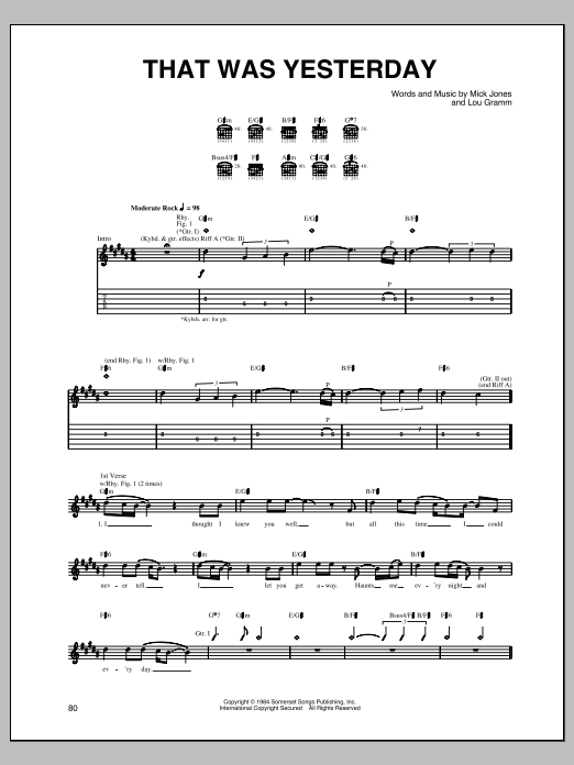 That Was Yesterday Sheet Music