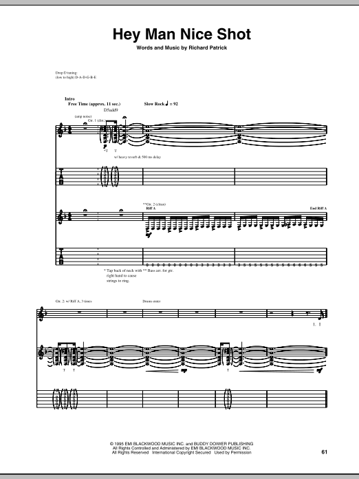 Hey Man Nice Shot (Guitar Tab)
