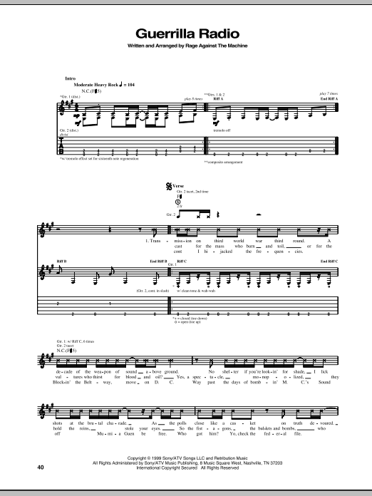 Tablature guitare Guerrilla Radio de Rage Against The Machine - Tablature Guitare