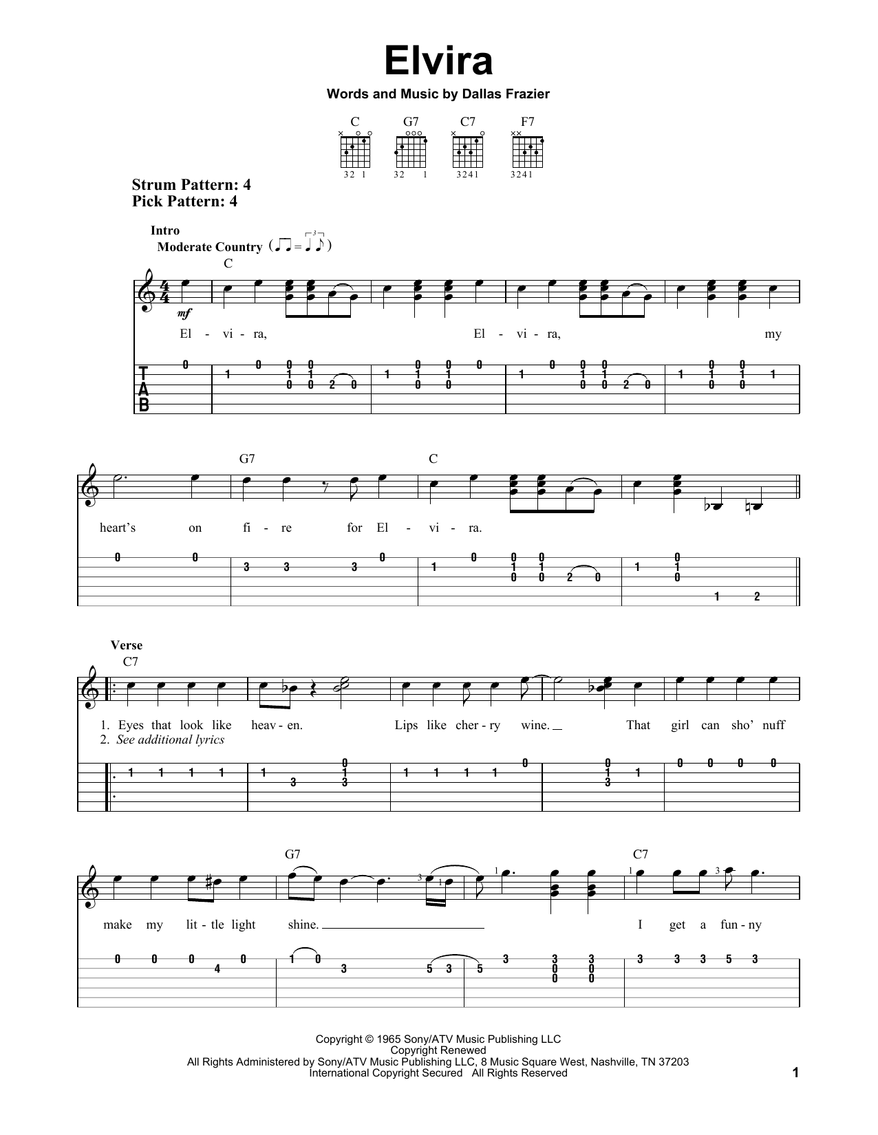 Elvira (Easy Guitar Tab)