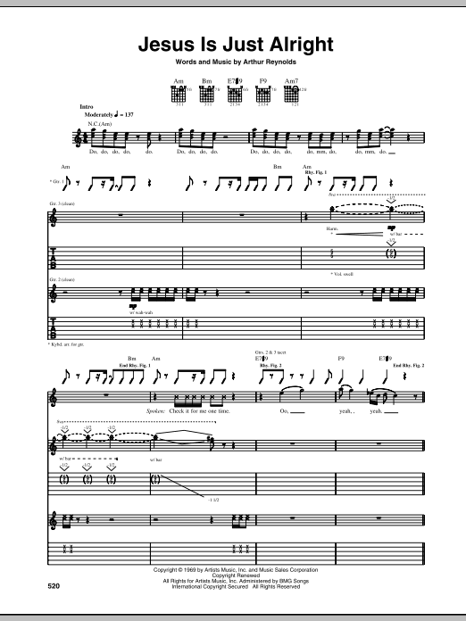 Jesus Is Just Alright Sheet Music