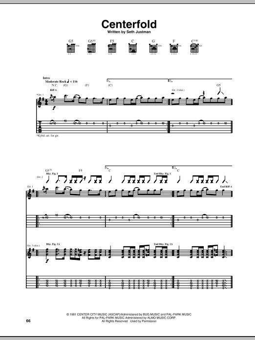 Tablature guitare Centerfold de The J. Geils Band - Tablature Guitare