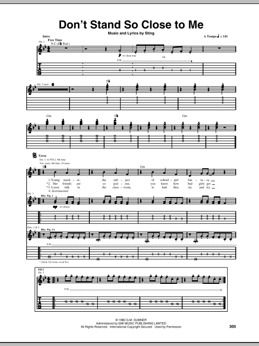 Don't Stand So Close To Me (Guitar Tab)