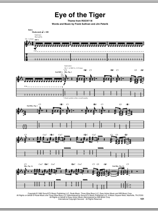 Eye Of The Tiger Sheet Music | Survivor | Guitar Tab