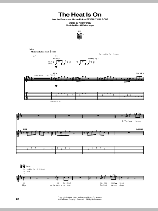 Tablature guitare The Heat Is On de Glenn Frey - Tablature Guitare