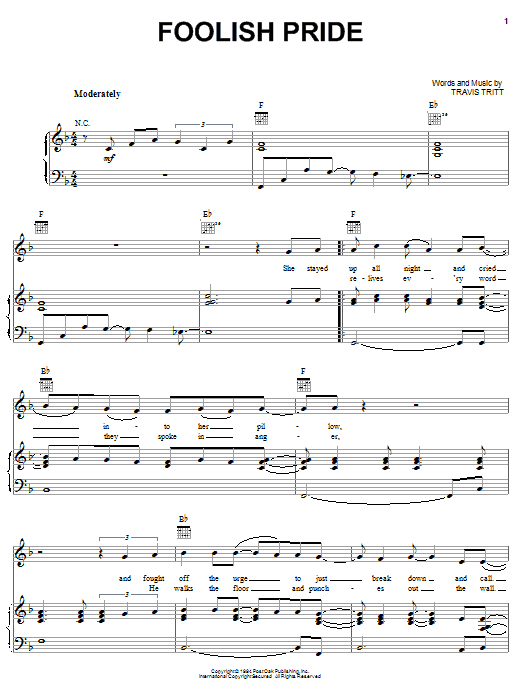 Foolish Pride (Piano, Vocal & Guitar (Right-Hand Melody))