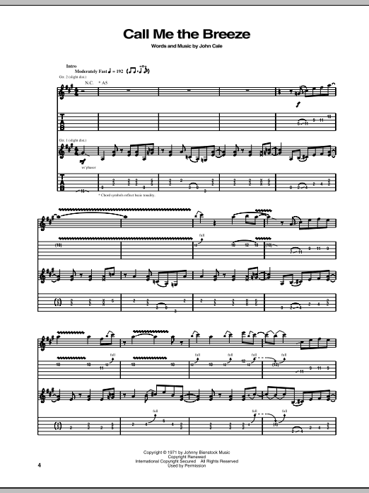 Call Me The Breeze Sheet Music