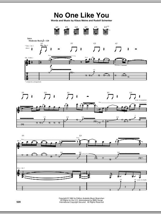 Tablature guitare No One Like You de Scorpions - Tablature Guitare