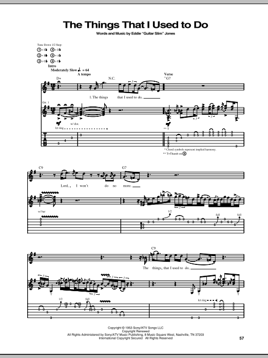 The Things That I Used To Do (Guitar Tab)