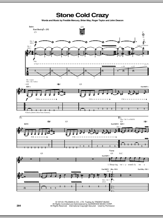 Stone Cold Crazy Sheet Music