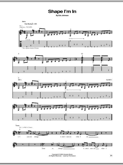 Tablature guitare Shape I'm In de Eric Johnson - Tablature Guitare