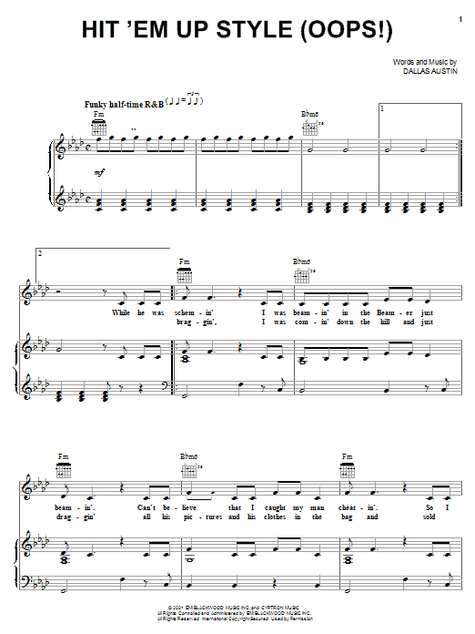 Hit 'Em Up Style (Oops!) Sheet Music