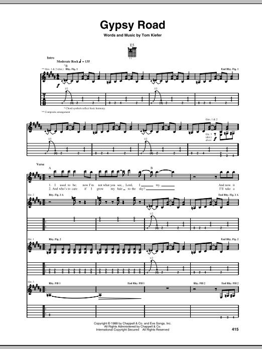 Tablature guitare Gypsy Road de Cinderella - Tablature Guitare