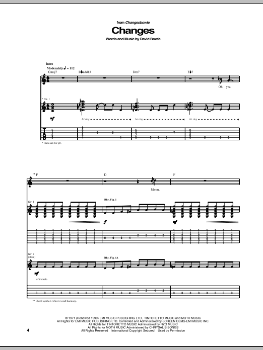 Changes Sheet Music