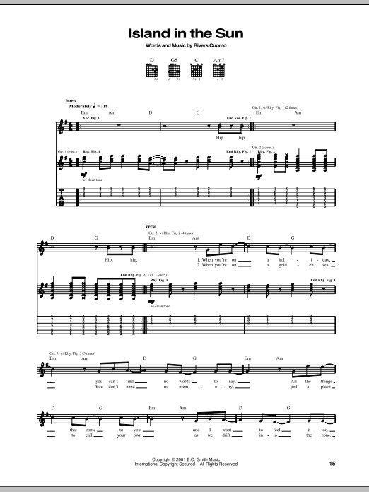 Tablature guitare Island In The Sun de Weezer - Tablature Guitare