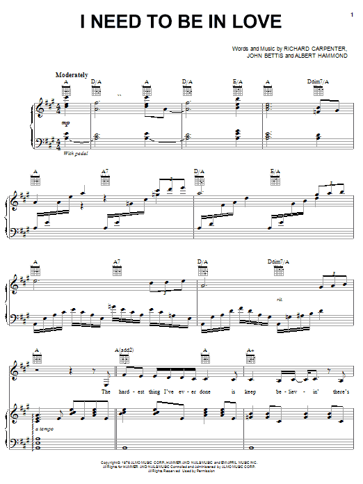 I Need To Be In Love Sheet Music