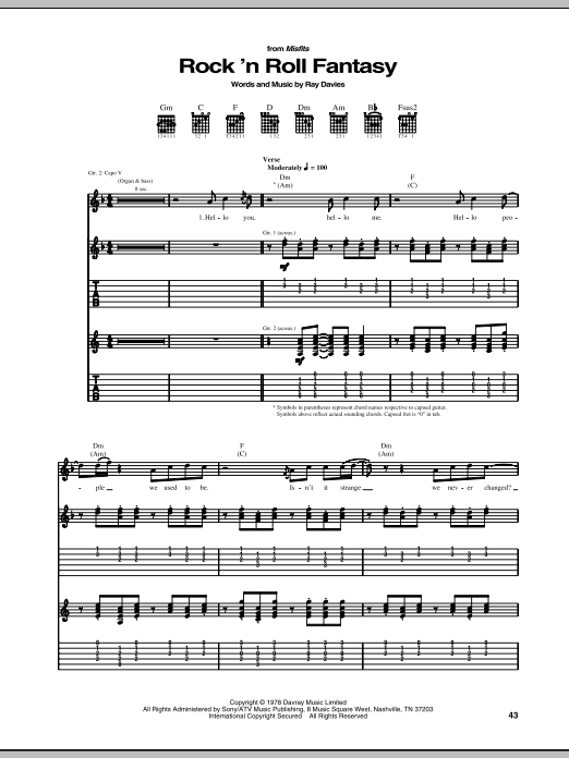 Tablature guitare Rock 'N Roll Fantasy de The Kinks - Tablature Guitare