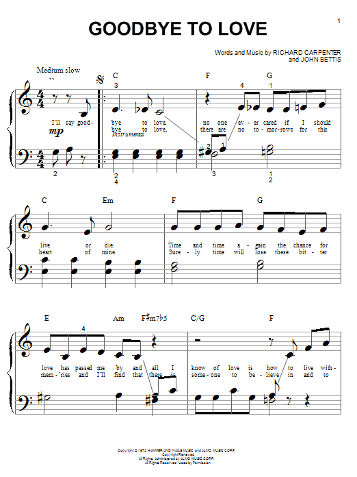 Goodbye To Love (Big Note Piano)