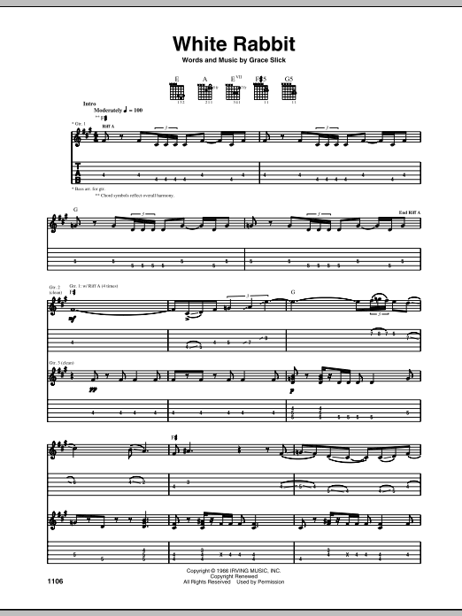 White Rabbit Sheet Music