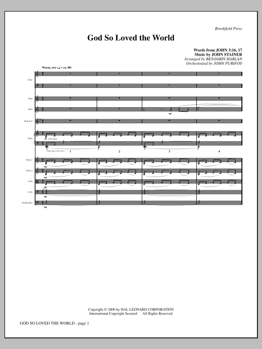 God So Loved The World Chamber Orchestra (complete set of parts) sheet music for orchestra/band (Orchestra) by Benjamin Harlan and John Stainer. Score Image Preview.