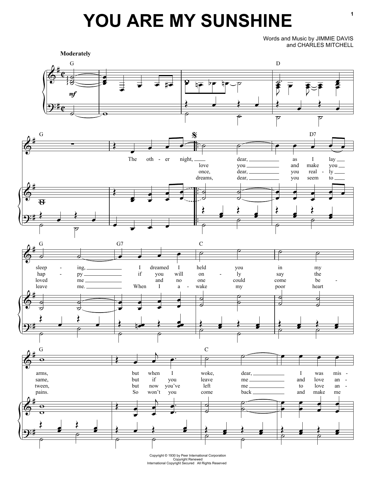 You Are My Sunshine sheet music by Norman Blake (Piano ...