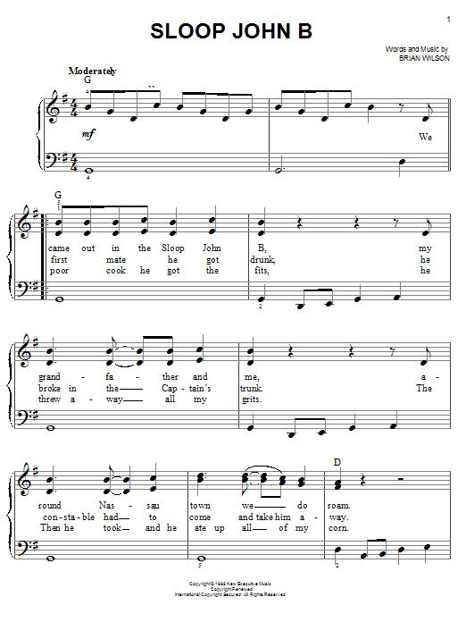 Sloop John B (Easy Piano)