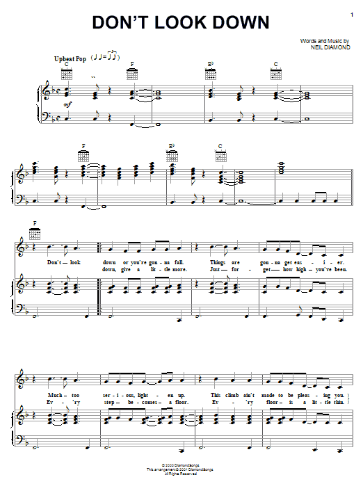 Don't Look Down (Piano, Vocal & Guitar (Right-Hand Melody))