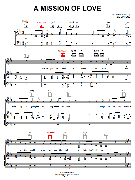 A Mission Of Love (Piano, Vocal & Guitar (Right-Hand Melody))