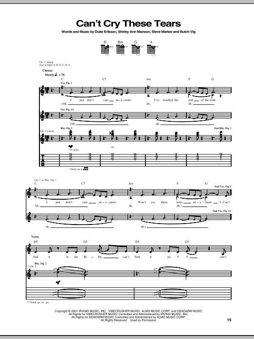 Can't Cry These Tears (Guitar Tab)