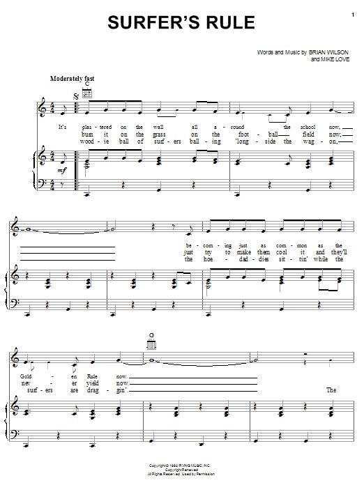 Partition piano Surfer's Rule de The Beach Boys - Piano Voix Guitare (Mélodie Main Droite)