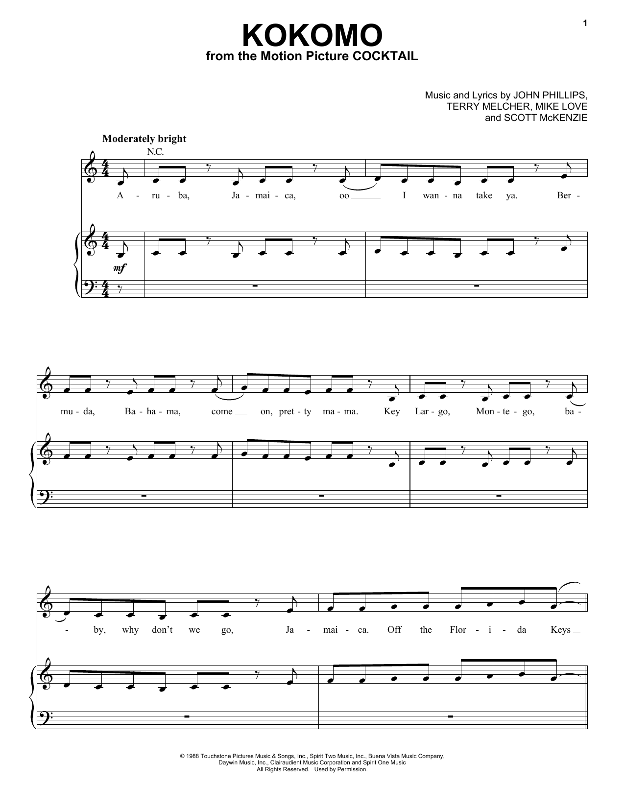 Memorable Movie Hits (complete set of parts) sheet music for voice, piano or guitar by Bryan Adams, Rod Stewart & Sting, Bryan Adams, Celine Dion, Frank Sinatra, James Horner, Jule Styne, Kermit The Frog, Michael Kamen, Paul Williams, Robert John Lange, Rod Stewart, Sammy Cahn, Scott McKenzie, Sting, The Beach Boys, The Four Aces, The Muppets, Will Jennings and Willie Nelson. Score Image Preview.