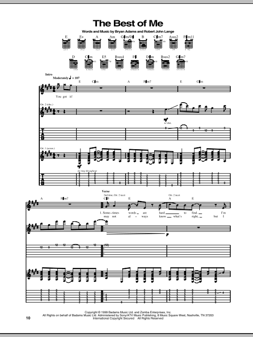 Tablature guitare The Best Of Me de Bryan Adams - Tablature Guitare