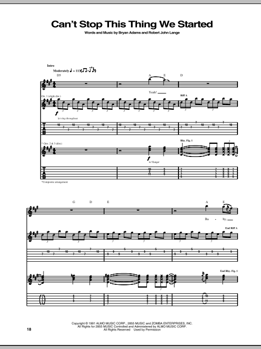 Tablature guitare Can't Stop This Thing We Started de Bryan Adams - Tablature Guitare
