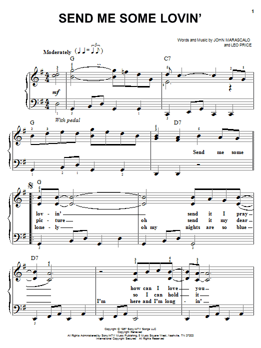 Send Me Some Lovin' (Easy Piano)