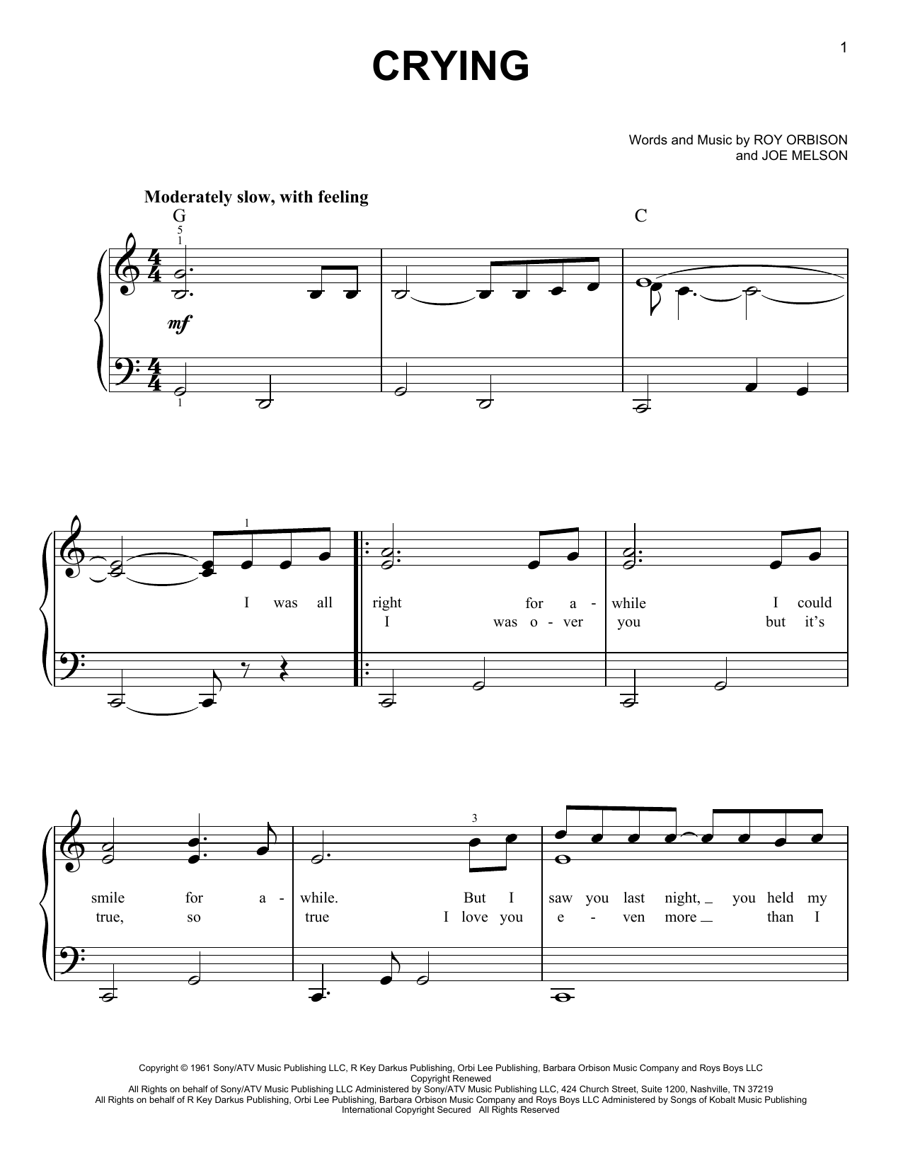 Partition piano Crying de Roy Orbison - Piano Facile