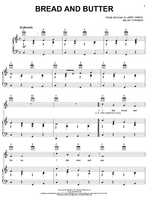 Bread And Butter (Piano, Vocal & Guitar (Right-Hand Melody))