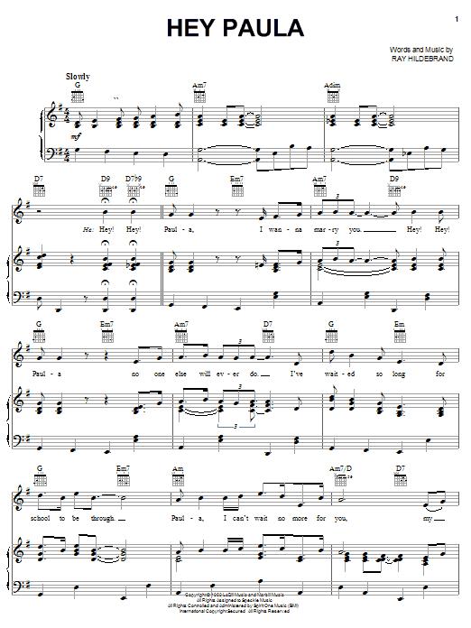 Hey Paula (Piano, Vocal & Guitar (Right-Hand Melody))